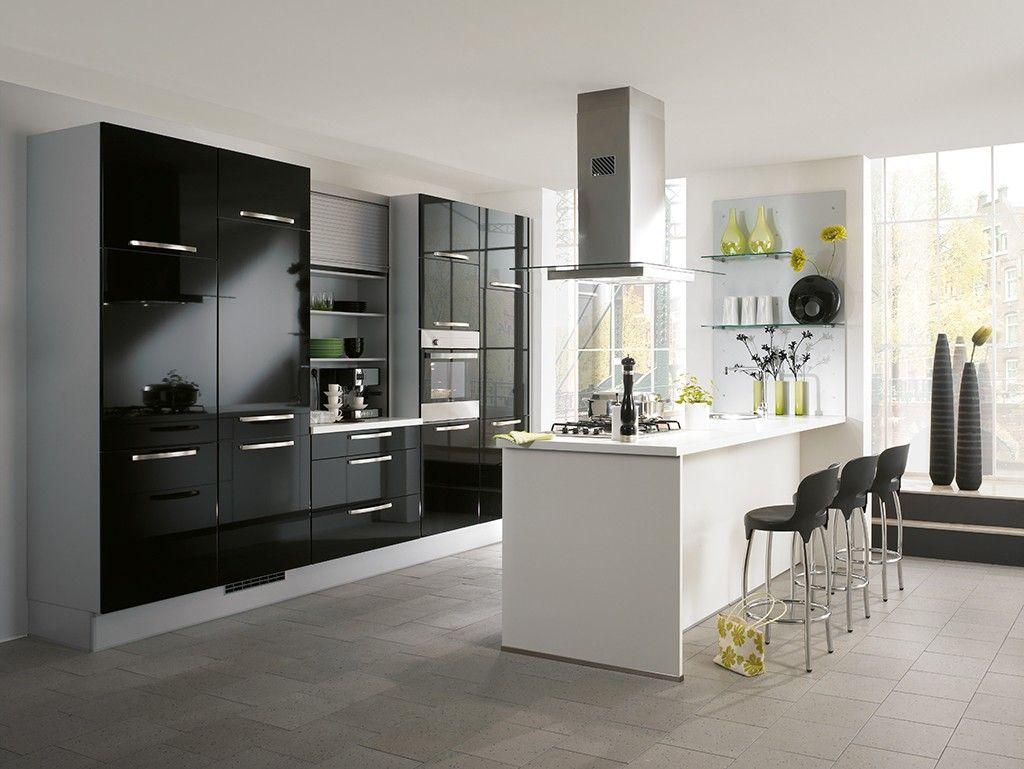 budgetkeuken nobilia praag hgl wit zwart 46656. Black Bedroom Furniture Sets. Home Design Ideas